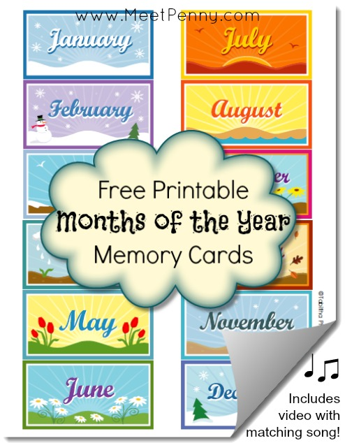 Free Months of the Year Printable Memory Cards + Matching ...