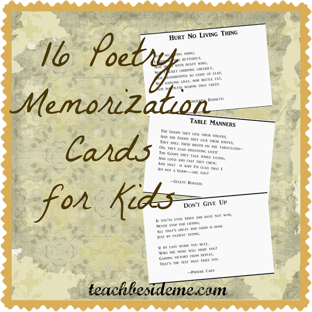 Free Printable Poetry Memorization Cards