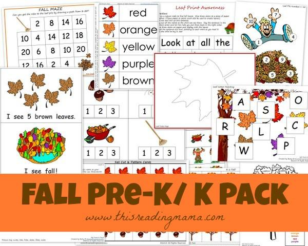 FREE Fall PreK/K Printable Worksheet Pack