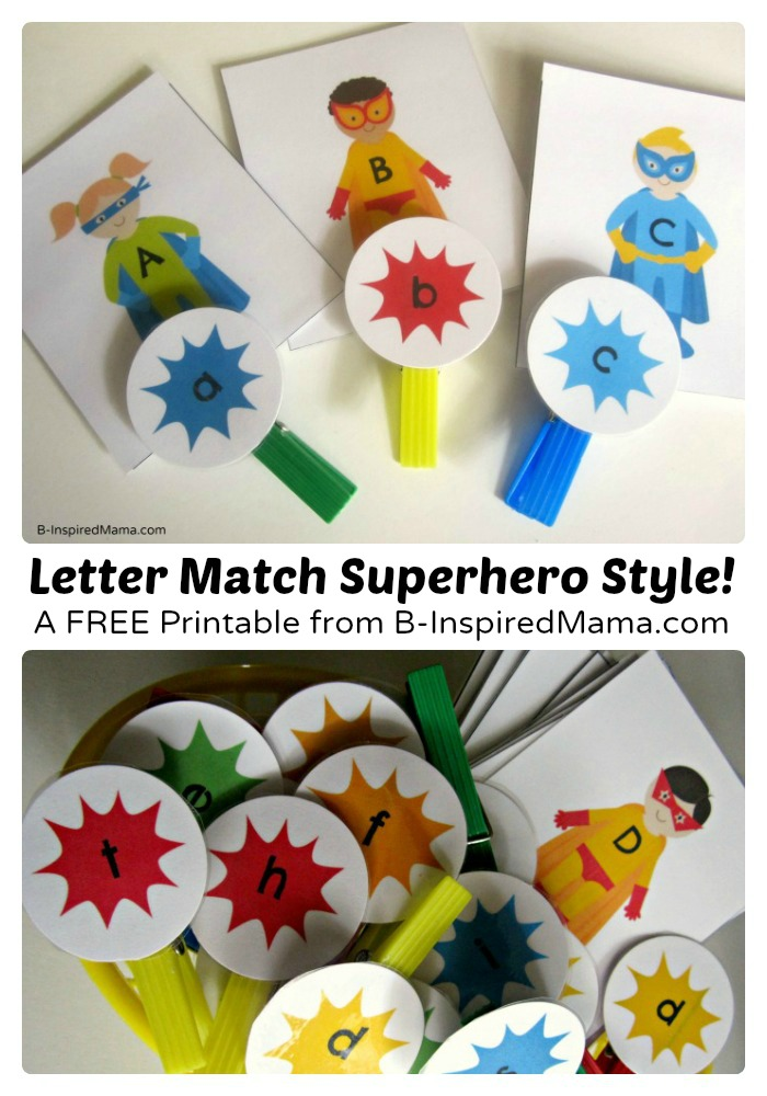 Free Printable Superhero Letter Match Game