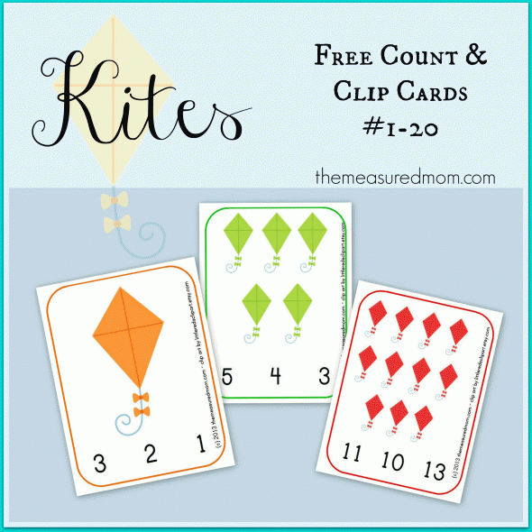 Free Kite Printable: Count & Clip Cards #1-20