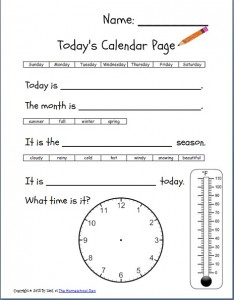 Free Daily Calendar Page