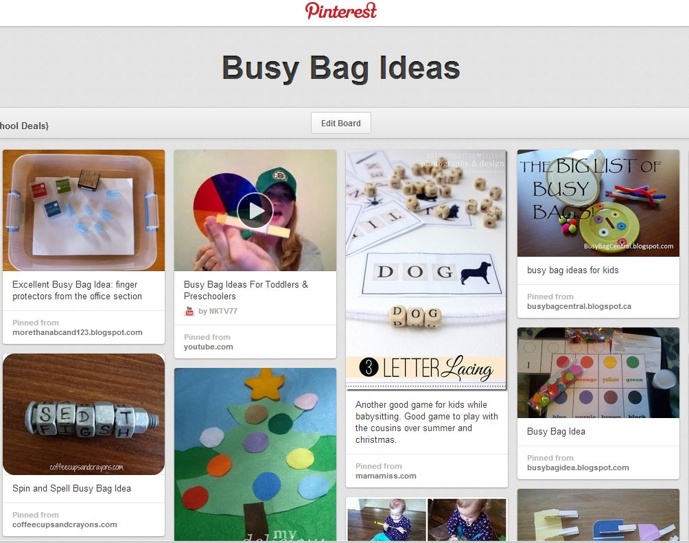busy bag ideas