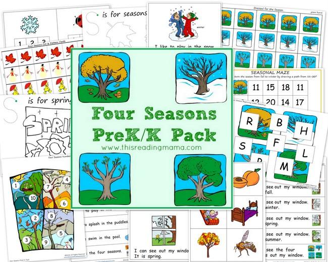 Free Worksheets Four Seasons Prekk Printable Pack