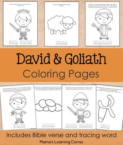 free David and Goliath Bible Coloring Pages