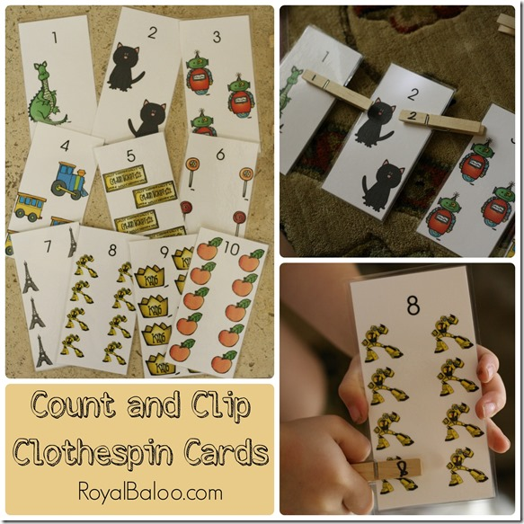Clip and Count Clothespin Cards