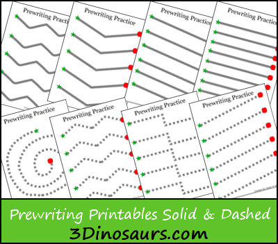 free Prewriting Practice Solid & Dashed Printables