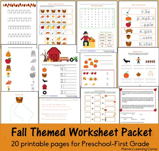 Free Fall Worksheet Packet for Preschool-First Grade | Free ...