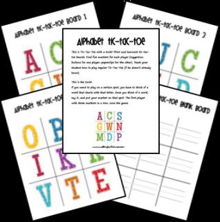 Free Printable Alphabet Tic-Tac-Toe Game