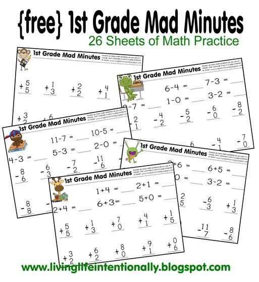 Math Worksheets: 1st Grade Mad Minutes Math Practice | Free ...