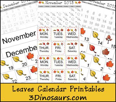 Leaves Calendar Cards