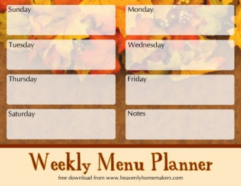 Free Downloadable Fall Menu Planners