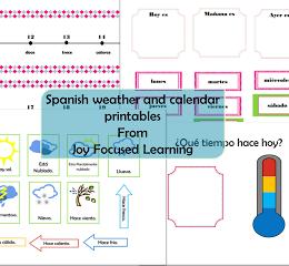 Free Spanish Calendar & Weather Printables