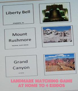 Free United States Landmarks Matching Game