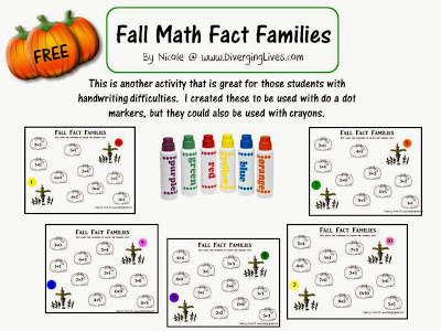 Number Names Worksheets printable fact family worksheets : Free Math Worksheets: Fall Math Fact Families | Free Homeschool ...