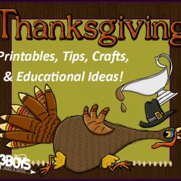 Thanksgiving Printables: Reading Flash Cards, Handwriting Worksheets
