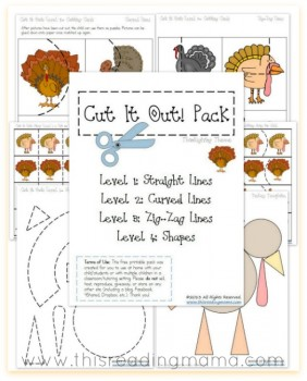 Thanksgiving Worksheets: FREE Cutting Practice Pack