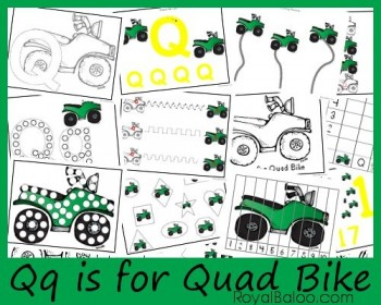 Free Worksheets: Qq is for Quad Bike–Zoomin Moving ABCs