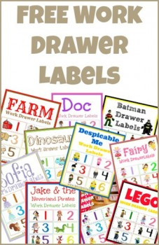 Free Work Drawer Labels: Doc, Despicable Me, Lego, and more!
