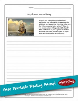 Free Printable Mayflower Writing Prompt
