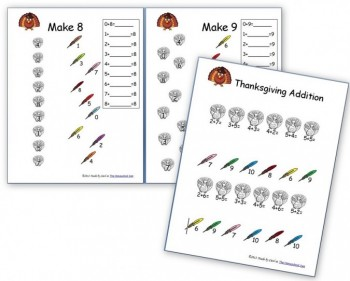 Thanksgiving Worksheets: Free Basic Addition and Number Family Sheets