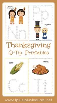 Free Thanksgiving Q-Tip Painting Printables