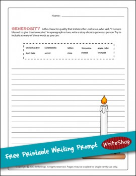 Free Printable Writing Prompt for December