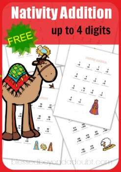 Nativity Addition Worksheets Packet