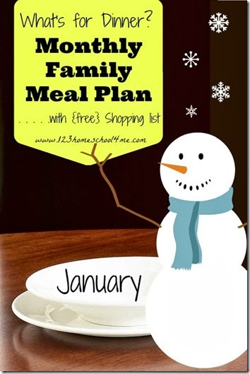 Free January Family Meal Planner with Weekly Grocery List