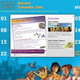 FREE online Friends and Heroes 2013 Advent calendar + FREE Nativity music video