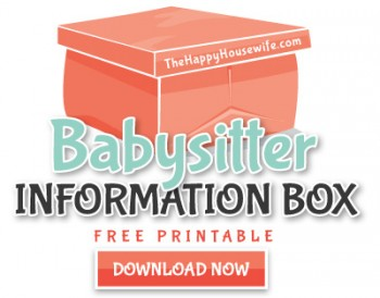 Babysitter Information Box Printable