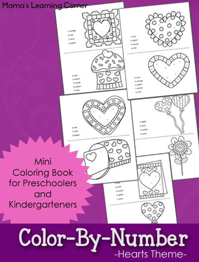 Color By Number Hearts-Themed Worksheets