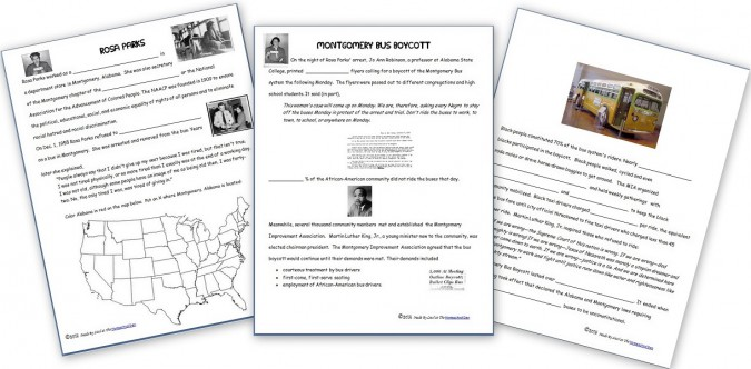 Rosa Parks and Montgomery Bus Boycott Printables