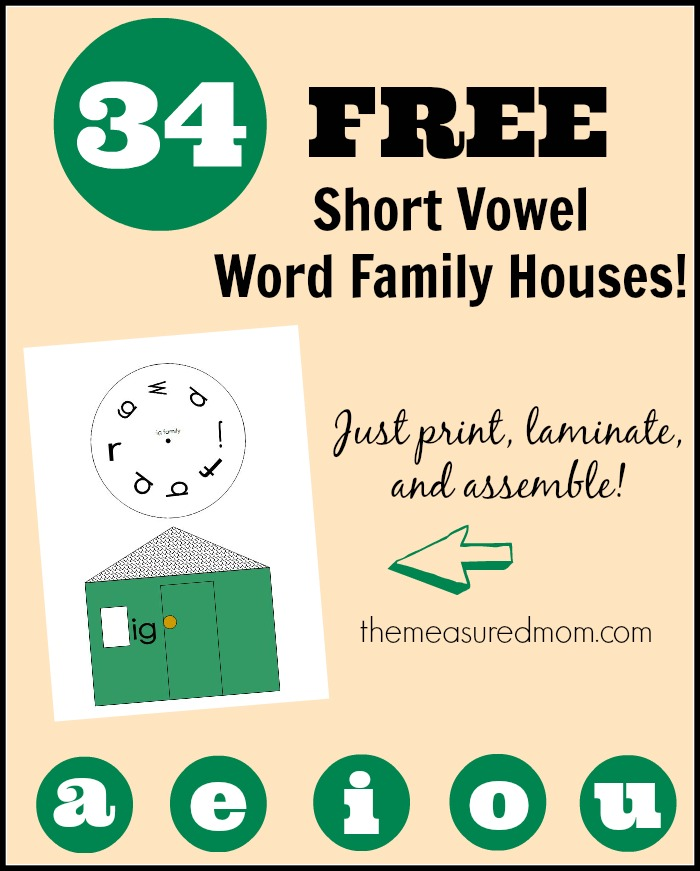 Short Vowel Word Family Houses