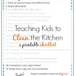 Teaching Kids to Clean the Kitchen Printable Checklist