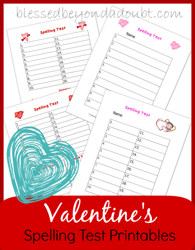 Valentines Spelling Test Printables