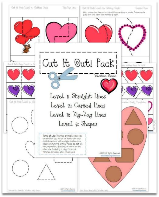 valentines printables free cutting practice pack for valentines. Black Bedroom Furniture Sets. Home Design Ideas