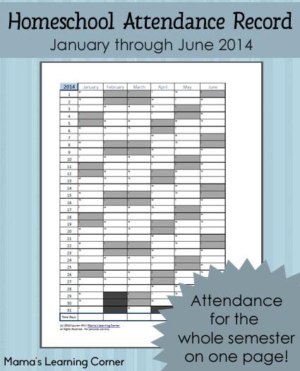 Printable Homeschool Attendance Record 2014