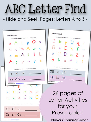 Number Names Worksheets preschool alphabet worksheets free printables : Free ABC Hide and Seek Letter Find for Preschoolers | Free ...