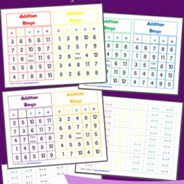 picture relating to Addition Bingo Printable named Totally free Printable Addition Bingo Worksheets