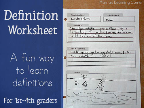 Free Printable Definition Worksheet