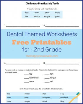 Dental Themed Worksheets