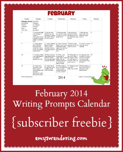 February 2014 Writing Prompts Calendar