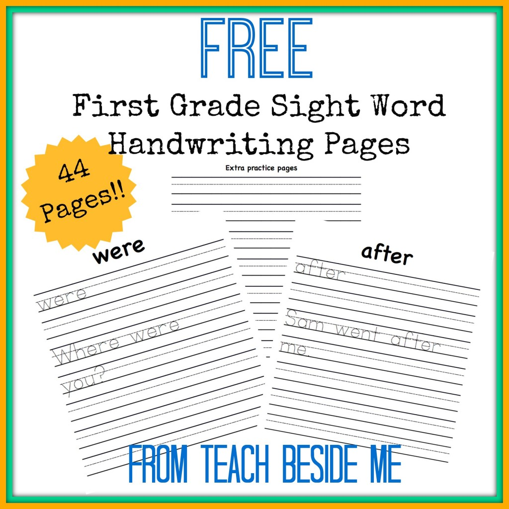 Free Sight Word Handwriting Pages