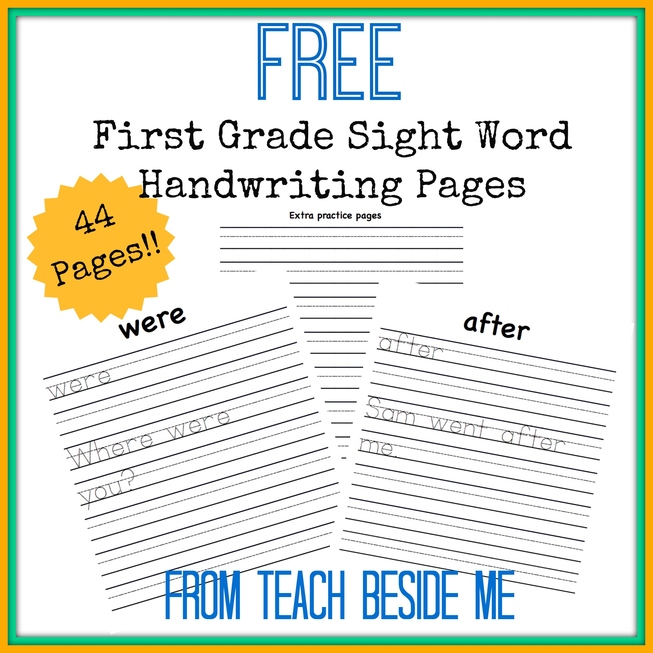 Free First Grade Sight Word Handwriting Pages | Free ...