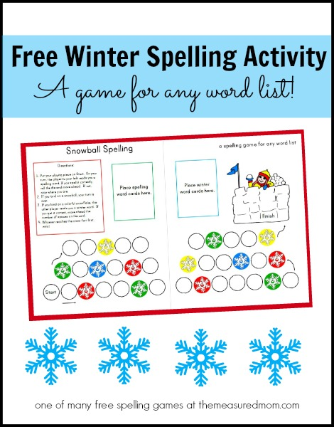 Free Winter Spelling Activity