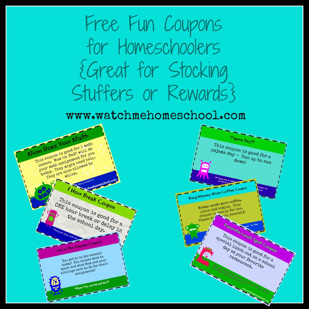 Fun Coupons for Homeschoolers