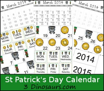 St. Patrick's Day Calendar Set - Free!