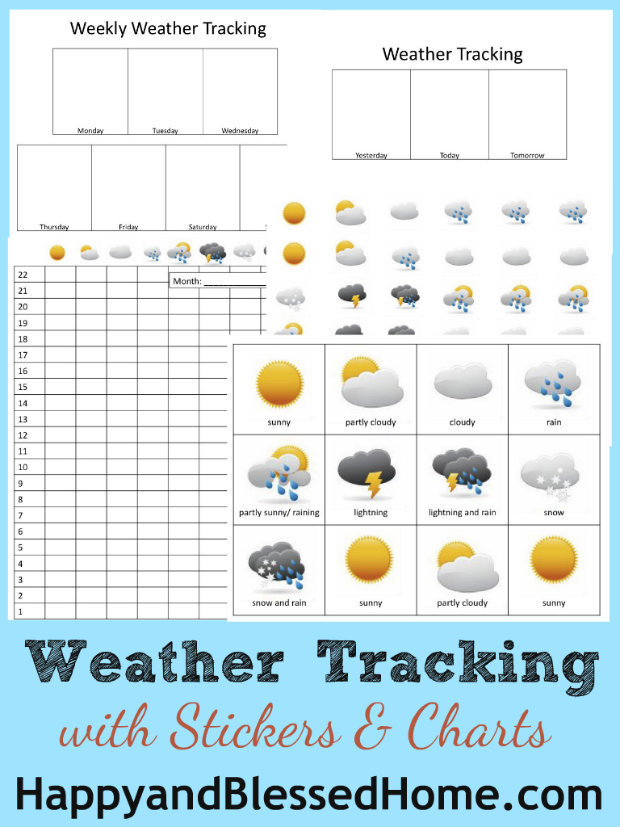 Weather Tracking Charts for Preschoolers