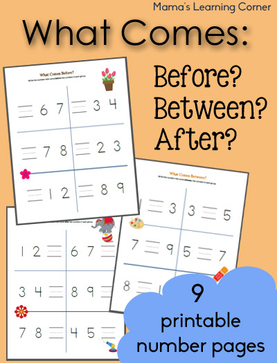 What Comes Before Between and After Worksheets